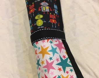 Fabric ispy roll-up busy bag: robot, stars, cupcakes
