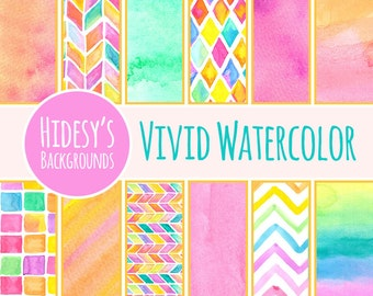 "Watercolor Digital Paper / Background / Pattern ""VIVID WATERCOLOR"""