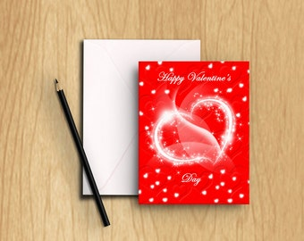 Glowing Hearts Valentine's Day Card
