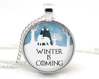 Game of Thrones Necklace, 'Winter is Coming', Jon Snow and Ghost, George RR Martin, Night's Watch, Westeros Necklace