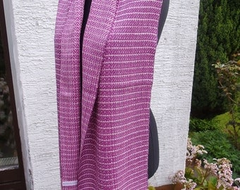 scarf made of non-violent silk, claret violet and white