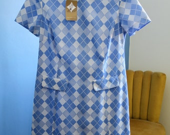 Blue and White 60s Mod Dress - Size 14 - 16