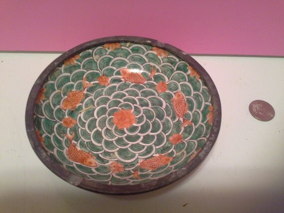 Bowl with koi fish pattern for Koi viewing bowl