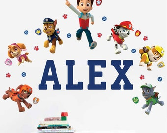 PAW Patrol™ Personalized Name Wall Decals for kids bedroom walls and playrooms