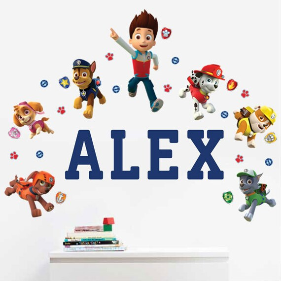 paw patrol personalized name wall decals for kids bedroom. Black Bedroom Furniture Sets. Home Design Ideas