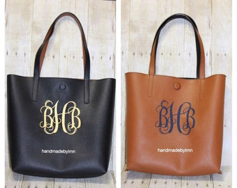 Reversible Tote Bag with Monogram Perfect for Bridesmaid Birthday or Mother's Day