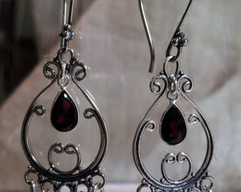 Valentine's Day Sterling Silver and Red Quartz Chandelier Earrings