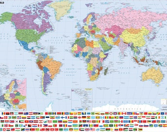 Giant A0 Laminated World Map inc. Flags of the World (Waterproof).