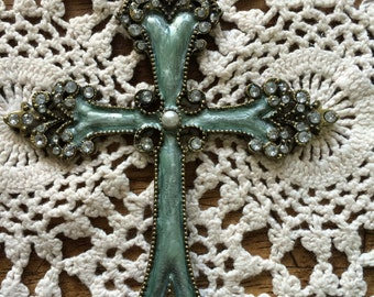 Large Cross for Necklace with Rhinstones,Faux pearl and melted glass very beautiful!!