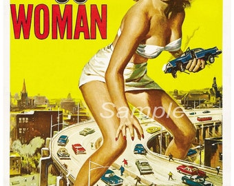 Vintage Attack of the 50ft Woman Movie Poster Print