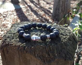 Unisex Black Lava Stone with Tibetan Buddha Charm Grounding Bracelet Reiki Healing Chakra Balancing Gemstones