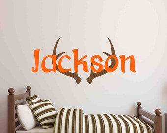 Personalized Name with Antlers-Monogram-Wall Decal-Wall Sayings-Wall Words-Childrens Bedroom Decor-Boys Bedroom Decor-Hunter Name and Antler