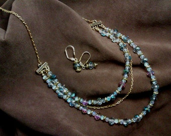 Aurora Borealis Crystal Necklace Set