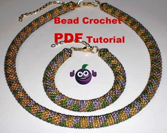 "Bead Crochet rope pattern necklace and bracelet "" Jujube"" Instant Download"