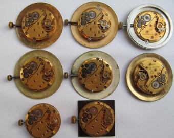 8 pc Gilded Mechanism Men's Wrist Watch Vintage Soviet FOR SERVICE / BROKEN
