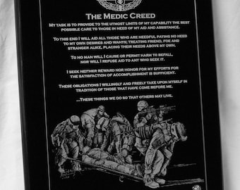The Medic's Creed Military plauqe personalized with art by Michael Solovey