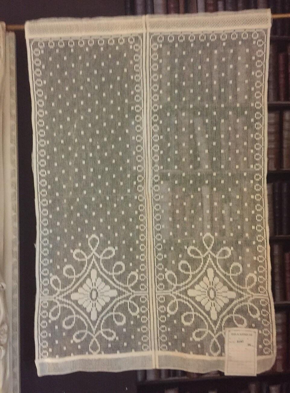 Antique C1930s Arts Crafts Curtain Cotton Lace Panel