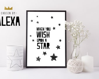 When you wish upon a star- Handmade Print