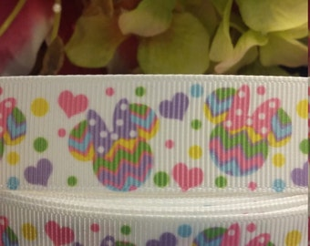 3 yards,  7/8' grosgrain ribbon Minnie mouse design
