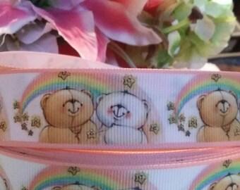 3 yards, 1' teddy bear sitting under a rainbow designed grosgrain ribbon
