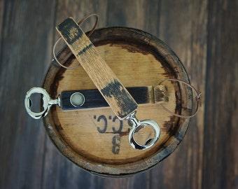 Bourbon Barrel Stave Handheld Bottle Opener W/ Magnet & Leather Chord