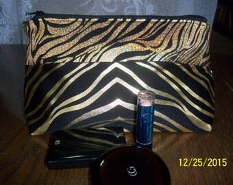 Cosmetic bag- Gold and Black Tiger,Cosmetic Make up, Brides maid gift, Travel Bag, Clutch for woman, Gift for girl, Gift for teen, Shiny