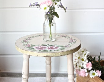 Little Old Hand-Painted Shabby Cottage Stool