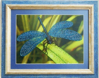 Dragonfly - Unique handmade picture embroidered with beads, Framed picture, Beadwork, Embroidered picture, Homedecor, Crosstich, Bordado