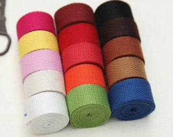 2.5cm/1 inch Width Canvas Webbing You Pick Colors Belts Purse Bag Straps Handles Leash, 5 Yards, D105