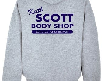 Keith Scott Grey Hooded Sweat One Tree Hill Body Shop Adult Hoodie Print on Back heather grey