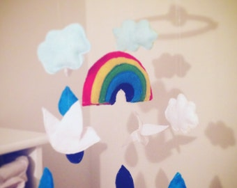 Rainbow clouds and bird baby mobile