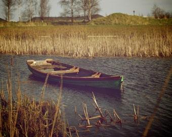 Old Boat - Old Boat Photo - Boat - Boat Photo - Wooden - Straw - Fields - Nature - Digital Photo - Digital Download - Fine Art Photography