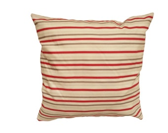 1 Pillow cover - Cream Red and Grey stripes