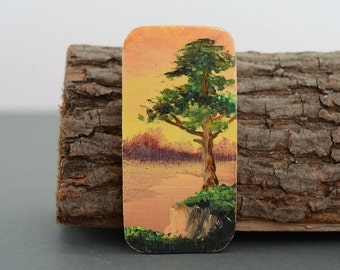 Painted wooden magnet 'At the Swamp'