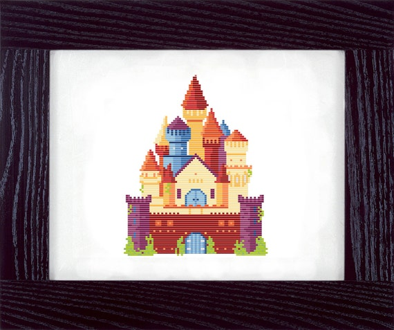 Colorful Fantasy Castle Counted Cross Stitch Pattern - PDF - Instant Download