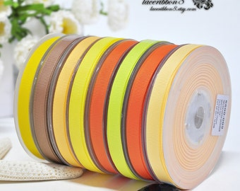 "100 Yards - 3/8"" Grosgrain Ribbons, Yellow Orange Grosgrain Ribbons, Double Faces, Ribbon Supplier Wholesales"