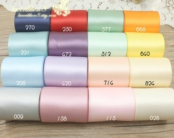 "10 Yards 50mm 2""Width Polyester Double-Faced Satin Ribbon For Weddings, Invitations, Sashes Crafts, Apparel, Headbands"