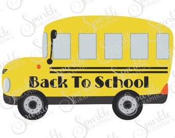 Back To School Cut File School Bus Kids School SVG First Day of School Clipart Svg Dxf Eps Png Silhouette Cricut Cut File Commercial Use