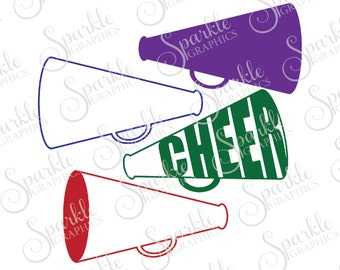 Cheerleading Cut File Megaphone SVG Cheerlearder SVG Cheer svg Sports Clipart Svg Dxf Eps Png Silhouette Cricut Cut File Commercial Use SVG