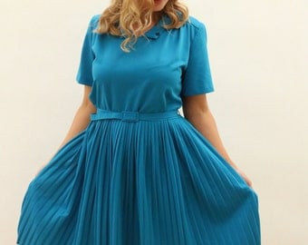 80's Turquoise/Teal Blue Pleated Skirt Dress