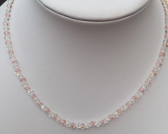 Pink and clear crystal necklace