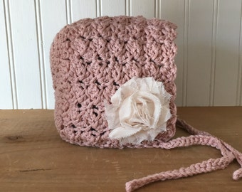 Sweet Baby Bonnet Hat in Blush with Blush flower - hand crochey baby hat newborn photo prop - Ready to Ship