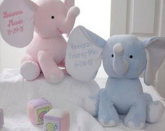 Pink Elephant-Baby Announcement-Personalized