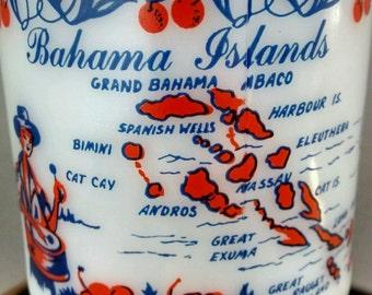 Vtg Milk Glass Pedestal Footed Mug Bahama Islands Fishing Boat Roulette Drums