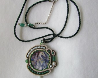 Soutache pendant necklace