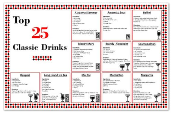 Laminated bar cocktail recipe mixed drink chart top 25 for Top bar drink recipes