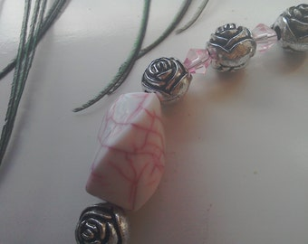 Pink pebble necklace