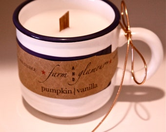 Farm And Glamour™ Pumpkin Vanilla Soy Candle with Wooden Wick