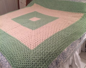 Honeydew and cream soft and dreamy hand-made afghan