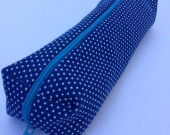 White dot shweshwe on blue pouch